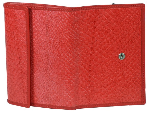 Hell-rotes Lachsleder Damen Portemonnaie
